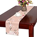 LKCDNG テーブルランナー カラフル 美しい 和風の花 クロス 食卓カバー 麻綿製 欧米 おしゃれ 16 Inch X 72 Inch (40cm X 182cm) キッチン ダイニング ホーム デコレーション モダン リビング 洗える