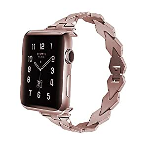 Apple Watch バンド Wollpo® apple watch ステンレス バンド 金属 ベルト Apple Watch に専用 バンド ステンレス アップルウォッチ 交換バンド ステンレス留め金製 (ステンレス チェーン, ローズゴールデン42mm)