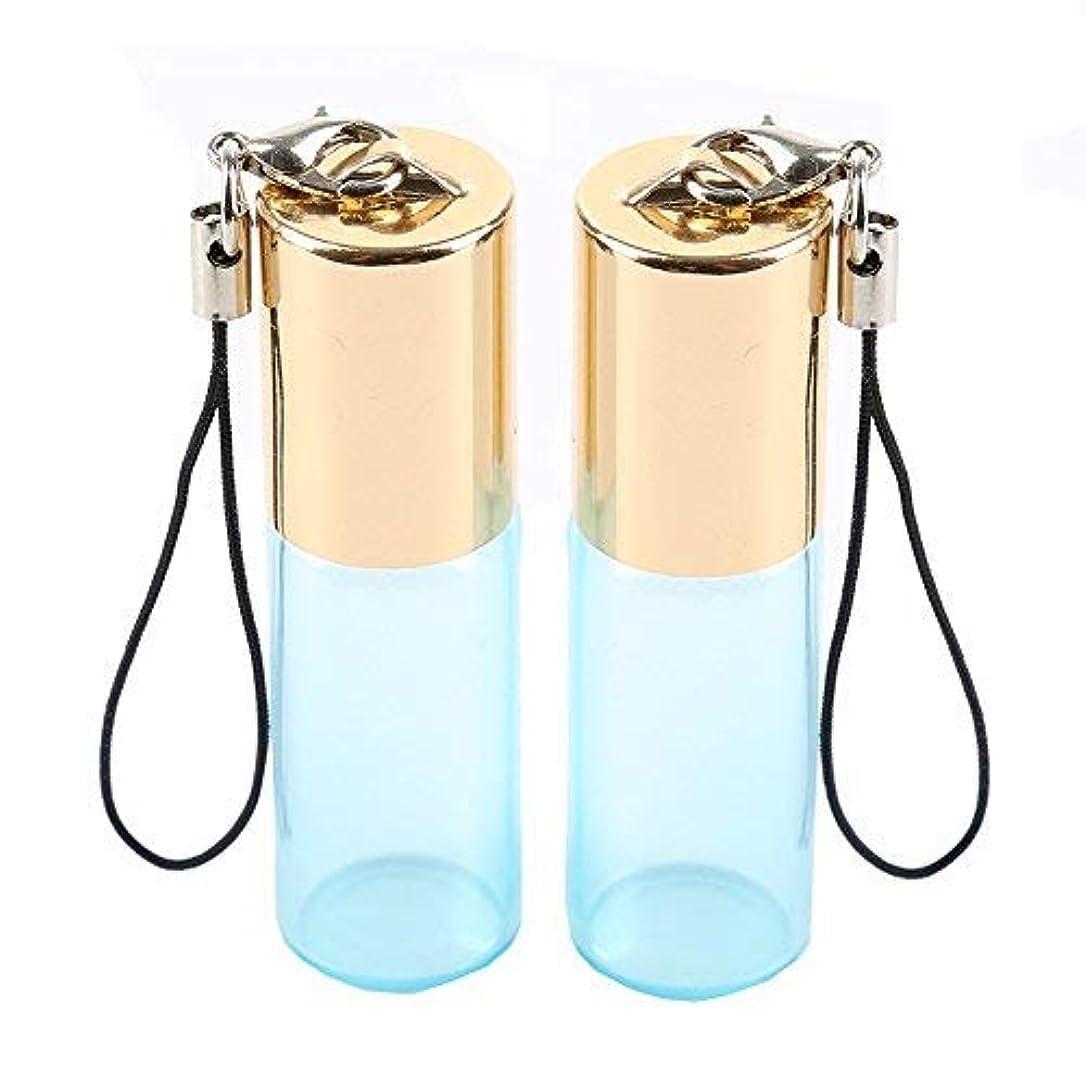 技術的なロータリー洞窟Empty Roller Bottles - Pack of 12 5ml Pearl Colored Glass Roll-on Bottles for Essential Oil Container with Golden Hanging Lids and 1Pc 3ml Droppers Included (Blue) [並行輸入品]
