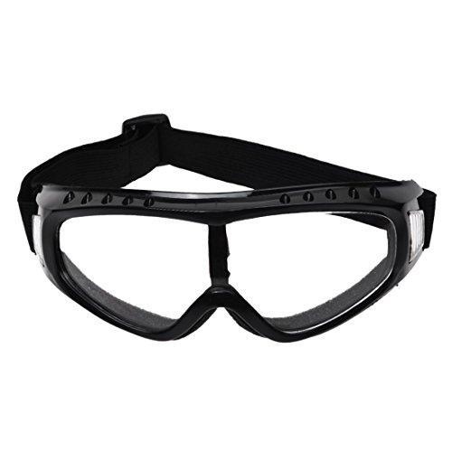 SODIAL(R) 透明コーティングされた安全スキー黒いリムゴーグル アウトドアスポーツ 防塵サングラス眼鏡