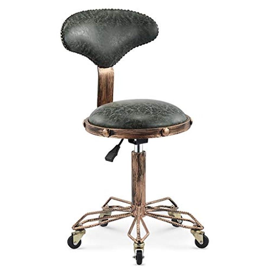 心臓前提条件裁定回転椅子-美容スツール理髪店の椅子ヘアサロンロータリーリフトスツールメイクヘアサロンプーリーチェア散髪 (Color : Dark green)