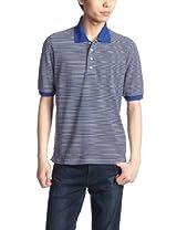 Cotton Pique Stripe Polo Shirt 1117-248-1784: Navy
