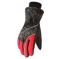スキーグローブ 以下のために働く運転スキーサイクリング乗馬はあなたの犬とその他マルチカラーオプションを歩く実行している女性男性の冬暖かい手袋防水熱手袋 ユニセックス (Color : Red, Size : Free size)