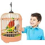 ruixuered-トリッキーノベルティ音声制御電気シミュレーション歌う移動オウム鳥かご玩具家の装飾 - ランダムな色