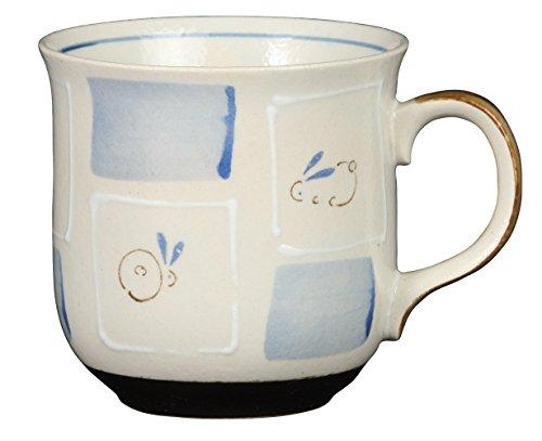 みのる陶器 いろは窯 軽量マグカップ 格子うさぎ BL