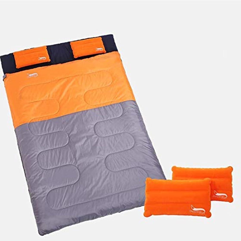 活気づけるインデックスリングLilyAngel ツインスリーピングバッグ、ピローアウトドアトラベル4シーズンライナーキャンプコットンワイドと厚い寝袋/ブルー (Color : オレンジ)