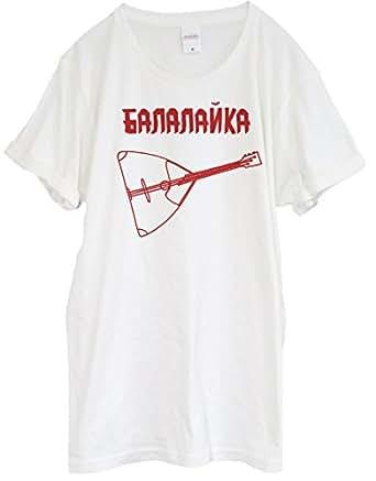 マニアック楽器 バラライカTシャツ【Balalaika】 バニラホワイト ユニセックス 半袖 (XS)