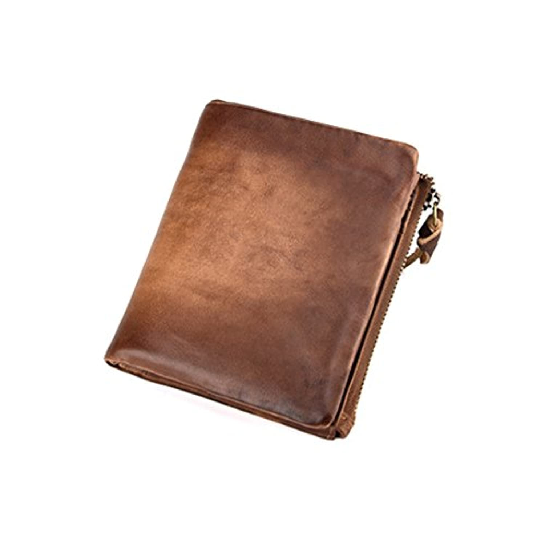 AllanEudora 財布 メンズ 本革 二つ折り カードケース 8ヶ所 小銭入れあり 大容量 ライトブラウン