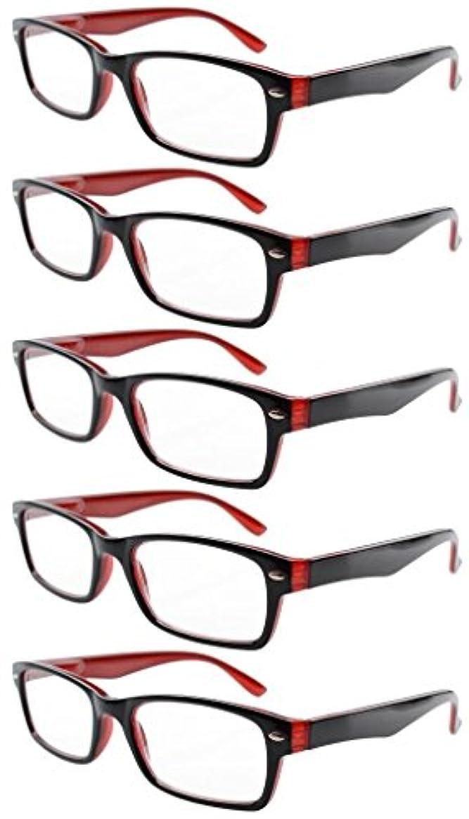 ピアノ少数葡萄アイキーパー(Eyekepper)バネ蝶番 ハーフアイ リーディンググラス シニアグラス 老眼鏡 5本セット (+2.00, ブラック/レッド 5本セット)