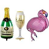 Blesiya ボトル フラミンゴ シャンパンカップ ヘリウム 箔 バルーン パーティー 装飾セット