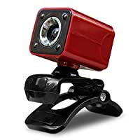Funnyrunstore USB Webカメラ720PのHDコンピュータカメラのWebカメラ内蔵吸音マイク640 * 480のダイナミック解像度(赤)
