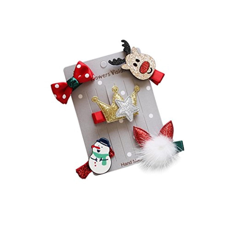 クリスマスヘアクリップ、Coxeer 10pcsベビー用ヘアピン可愛い漫画雪だるまサンタクロースヘラジカベビーヘアクリップ
