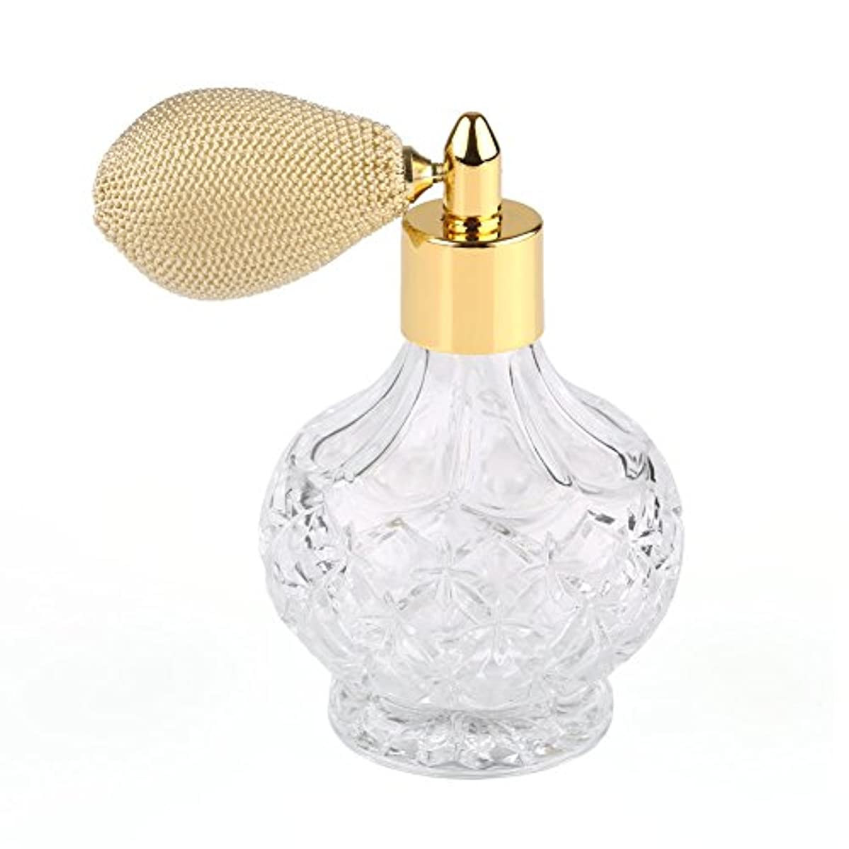 球状破滅的な誕生日高品質18MMガラスボトル香水瓶 アトマイザー  クリア星柄ストリームラインデザイン 金色ニットスプレー 80ML ホーム飾り 装飾雑貨 ガラス製