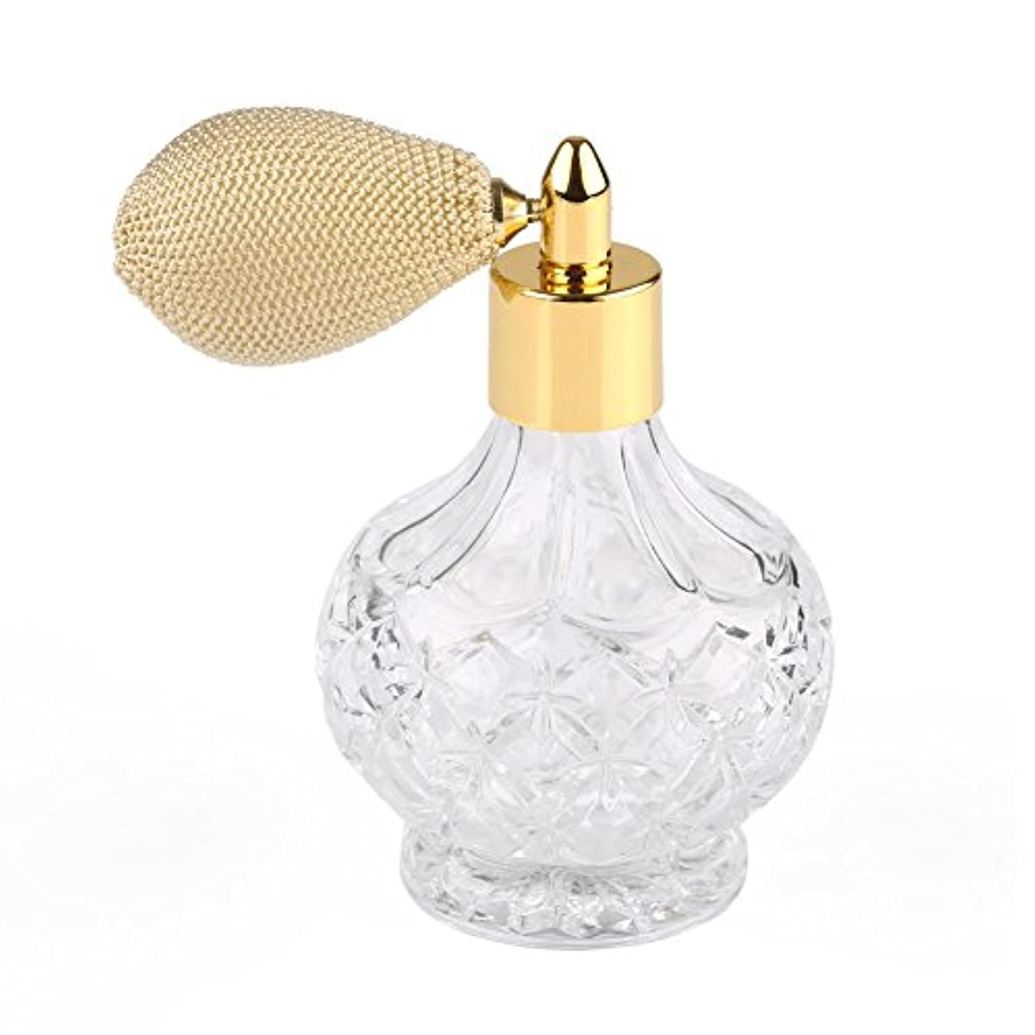 マウント指標ゆでる高品質18MMガラスボトル香水瓶 アトマイザー  クリア星柄ストリームラインデザイン 金色ニットスプレー 80ML ホーム飾り 装飾雑貨 ガラス製