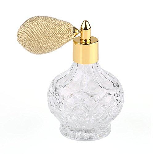 高品質18MMガラスボトル香水瓶 アトマイザー  クリア星柄ストリームラインデザイン 金色ニットスプレー 80ML ホーム飾り 装飾雑貨 ガラス製