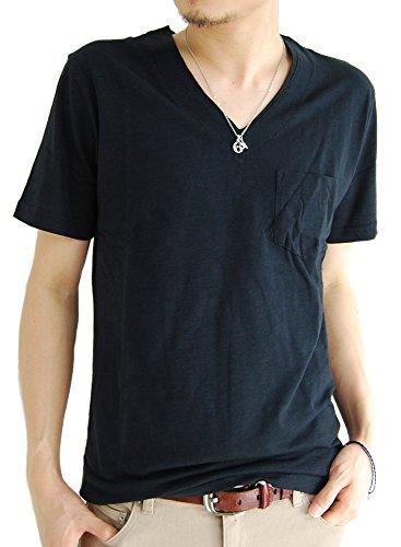 (アーケード) ARCADE メンズ 半袖 Tシャツ スラブ生地 胸ポケット付き Vネック カジュアル カットソー M ブラック(Vネック)