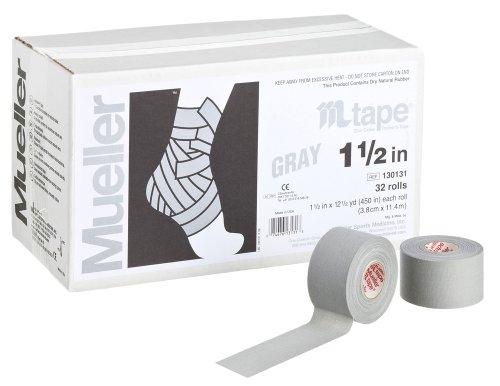 Mueller(ミューラー) Mテープ チームカラー 38mm グレー Mtape Team Color Gray [32個入り] 非伸縮コットンテープ 130829 グレー 38mm