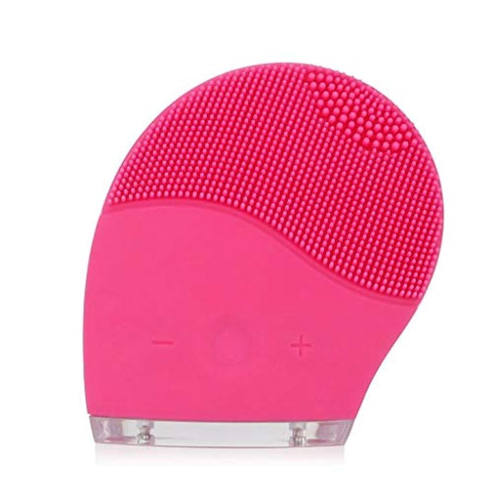 フェイシャルクレンジングブラシ、電気シリコーンフェイシャルマッサージブラシ防水アンチエイジングスキンクレンザー、ディープエクスフォリエイティングメイクアップツール、フェイシャルポリッシュ、スクラブ (Color : Pink)