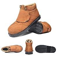ZYFXZ メカニック溶接機プラットフォーム5UK-10UKための作業靴、ハイトップ作業靴、軽量スエード保護シューズ、四季、(EU45) 安全靴 (Color : A, Size : 9UK)