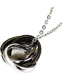 リッツソフト キュービック ジルコニア サージカル ステンレス トリプルリング ネックレス シルバー×ブラック メンズ