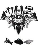 9FastMoto kawasaki カワサキ 1993-2007 ZZR400 93 94 95 96 97 98 99 02 03 04 05 06 07 用フェアリング オートバイフェアリングキット ABS 射出成形セット スポーツバイク カウル パネル (ブラック & シルバー) K0376