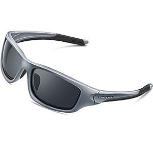 Torege スポーツサングラス 偏光レンズ 超軽量 TR90 UV400 紫外線カット サングラス/ 自転車/釣り/野球/テニス/スキー/ランニング/ゴルフ/ドライブ 運動メガネTRG-011 (グレー)