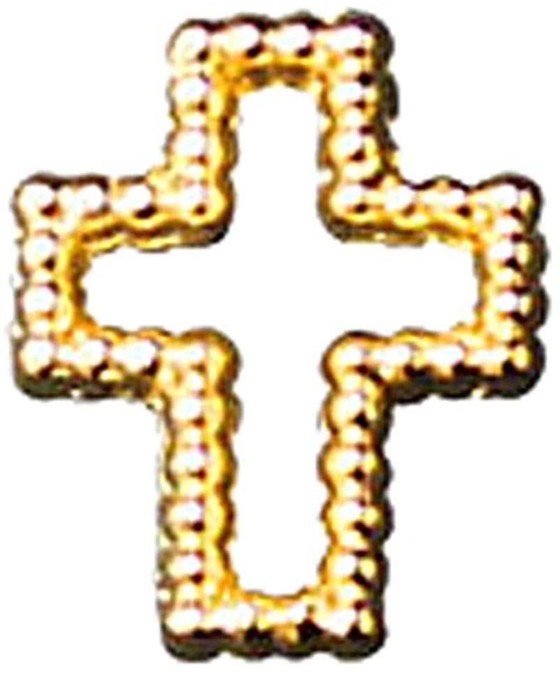 ブラインド汚染する接続プリティーネイル ネイルアートパーツ ブリオンクロス2 S ゴールド 15個