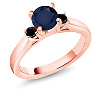 Gem Stone King 1.2カラット 天然 サファイア 天然ブラックダイヤモンド シルバー925 ピンクゴールドコーティング 指輪 リング