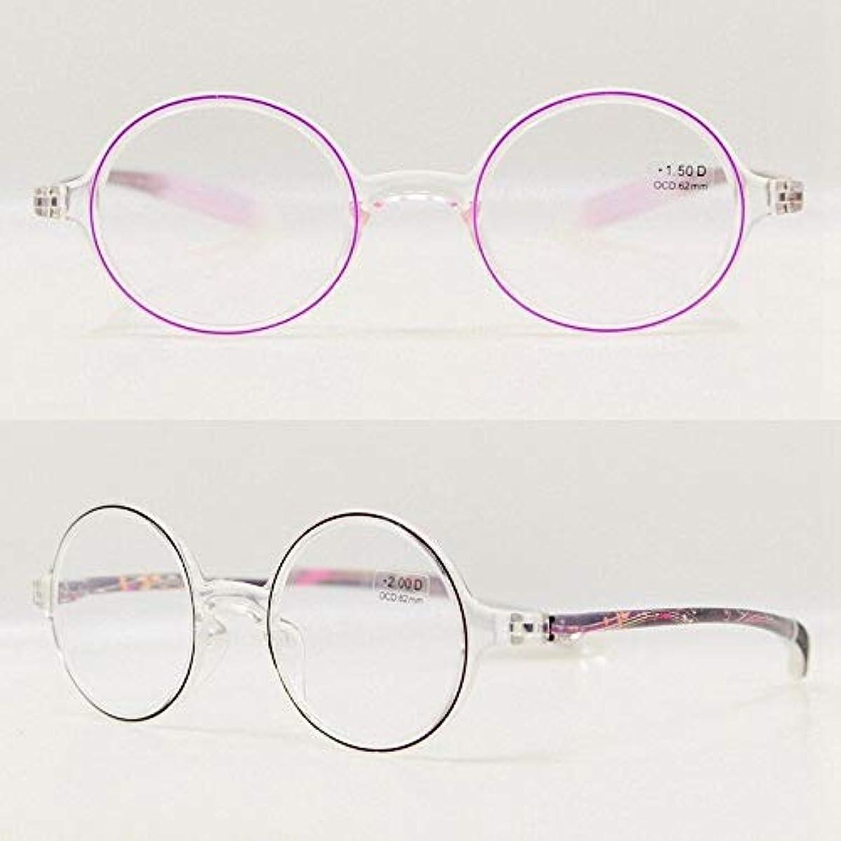 FidgetGear ラウンドクリアTR-90フレキシブル老眼鏡フレーム強度+1.00?+ 4.00 クリア+ピンク