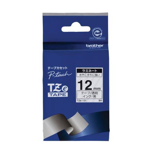 ブラザー工業 TZeテープ ラミネートテープ(透明地/黒字) 12mm TZe-131