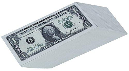 おもちゃの紙幣ー1ドル札お金ごっこセット、100枚、5×2.5インチ