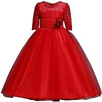 女の子のプリンセスドレス, レースの女の子の王女の花嫁介添人会見のTutu Tulleのガウンパーティーのウェディングドレス by TODOYI (120, RD)