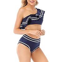 Elegant Taste Women 2 Piece Vintage Navy Flounce One Shoulder Crop Top with High Waist Bottom Bikini Set Swimwear Swimsuit
