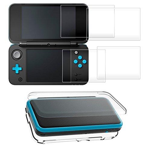 【Taisioner】 Nintendo NEW 2DS LL PCクリスタルカバー + 液晶保護フィルム(2枚セット) 硬度9H ガラスフィルムシート ブルーライトカット 全面保護 耐衝撃 着脱簡単 気泡防止 飛散防止 指紋防止 超薄 抗衝撃