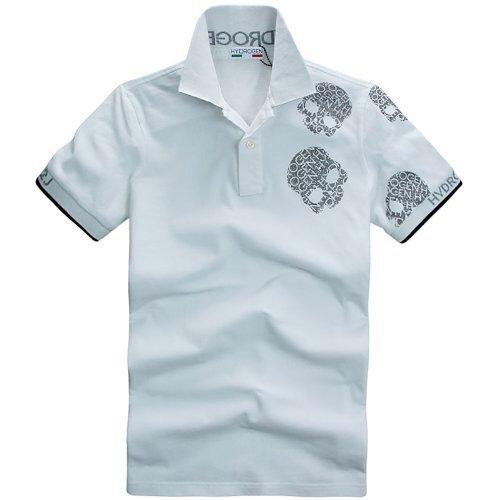 (ハイドロゲン)HYDROGEN ポロシャツ 半袖 メンズ ランダムスカル パステルカラー 並行輸入品 (L, ホワイト)