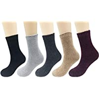 5Pair Womens Girl Chenille Cotton Silky Winter Soft Warm Crew Socks Solid Color