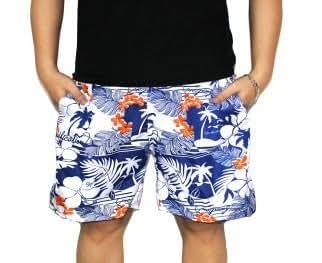 爽やか ハワイアン カラフル な サーフパンツ オシャレ 海水 パンツ 海パン ショーツ 水着 海 サーフィン 夏 サマー 2015 海水浴 プール 波 リゾート ハーフパンツ 短パン 南国 花 フラワー (ネイビー×オレンジ)