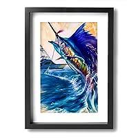 セイルフィッシュ スポーツフィッシング ? ヨット 釣り芸術 装飾絵画 アートフレーム インテリア絵画 装飾 額縁 フレーム付き 釘付き アート ポスター ウォールアート A4 (33X24cm )