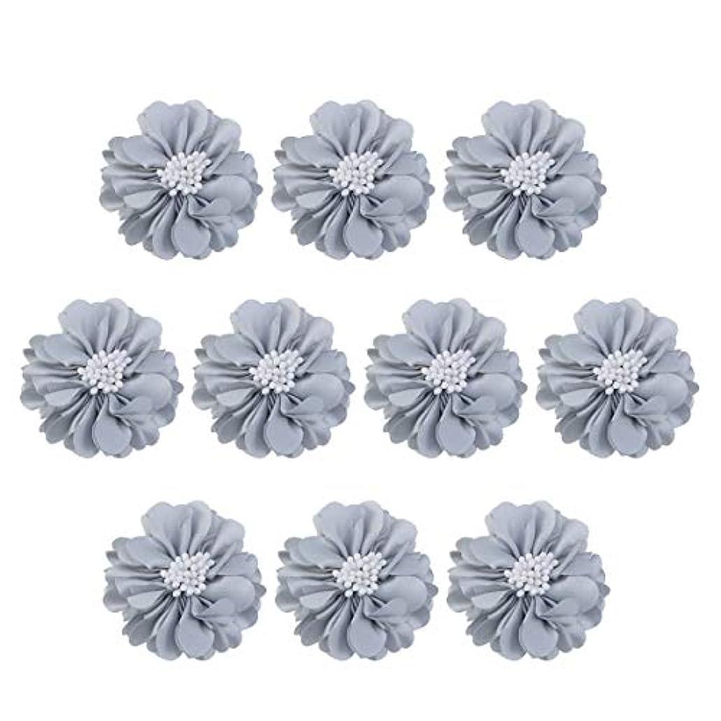 ウェブメガロポリス透けるVosarea 10個装飾シフォン花平底美しいDIY手作りぼろぼろの花のヘアクリップヘアアクセサリー(ブルー)