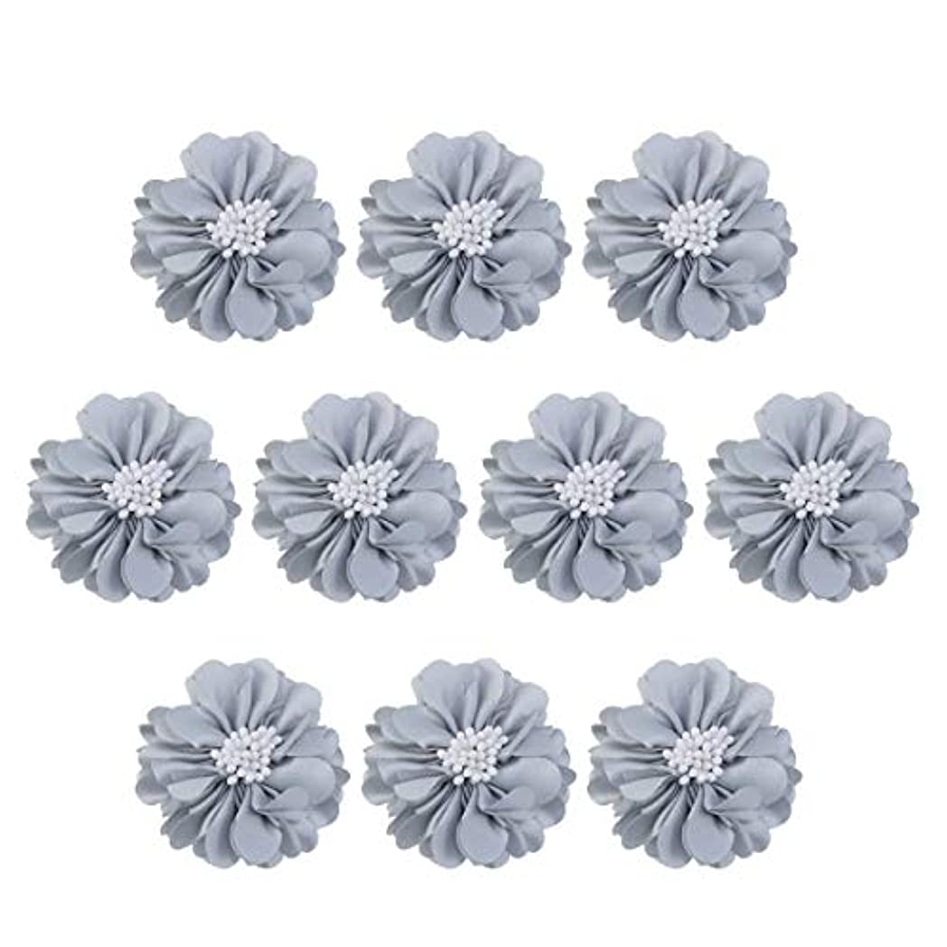 反発する半円用量Vosarea 10個装飾シフォン花平底美しいDIY手作りぼろぼろの花のヘアクリップヘアアクセサリー(ブルー)