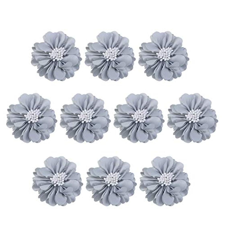 来て統計的リンケージVosarea 10個装飾シフォン花平底美しいDIY手作りぼろぼろの花のヘアクリップヘアアクセサリー(ブルー)
