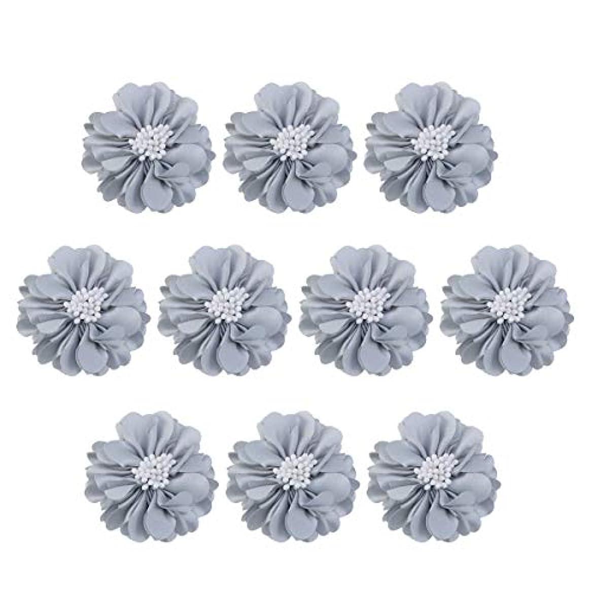 クリーナー敬礼帰するVosarea 10個装飾シフォン花平底美しいDIY手作りぼろぼろの花のヘアクリップヘアアクセサリー(ブルー)