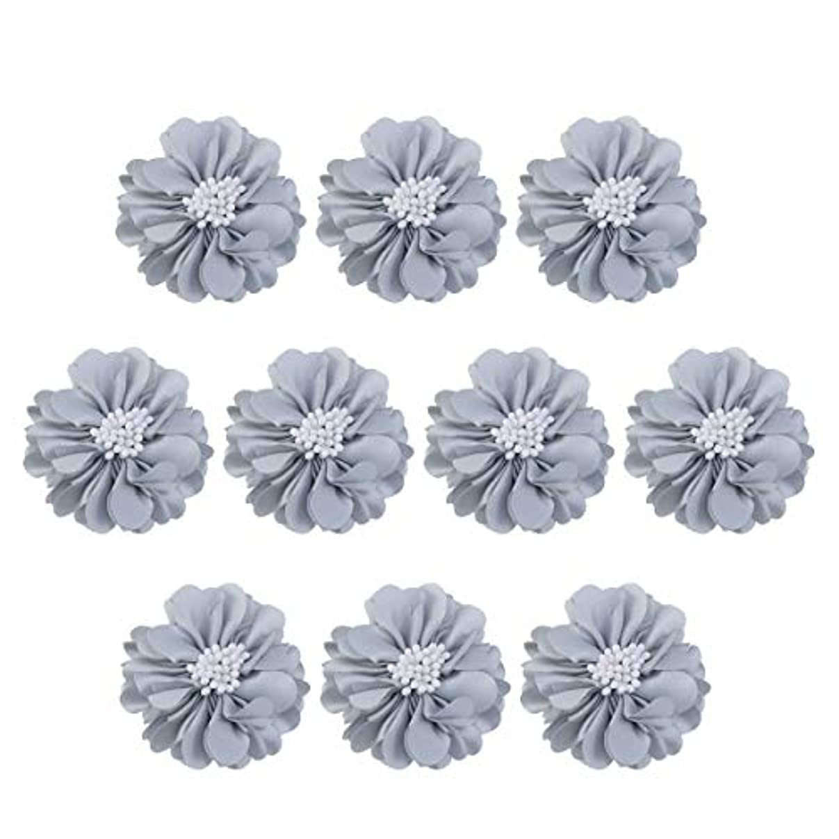 黒くする回転カポックVosarea 10個装飾シフォン花平底美しいDIY手作りぼろぼろの花のヘアクリップヘアアクセサリー(ブルー)