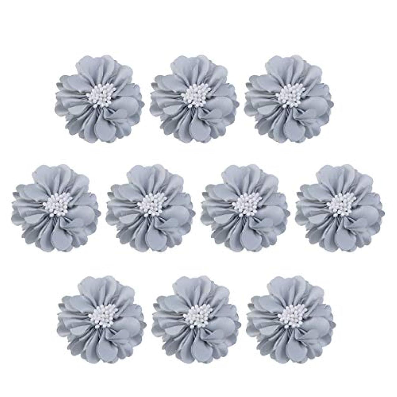 現象不明瞭ワイヤーVosarea 10個装飾シフォン花平底美しいDIY手作りぼろぼろの花のヘアクリップヘアアクセサリー(ブルー)
