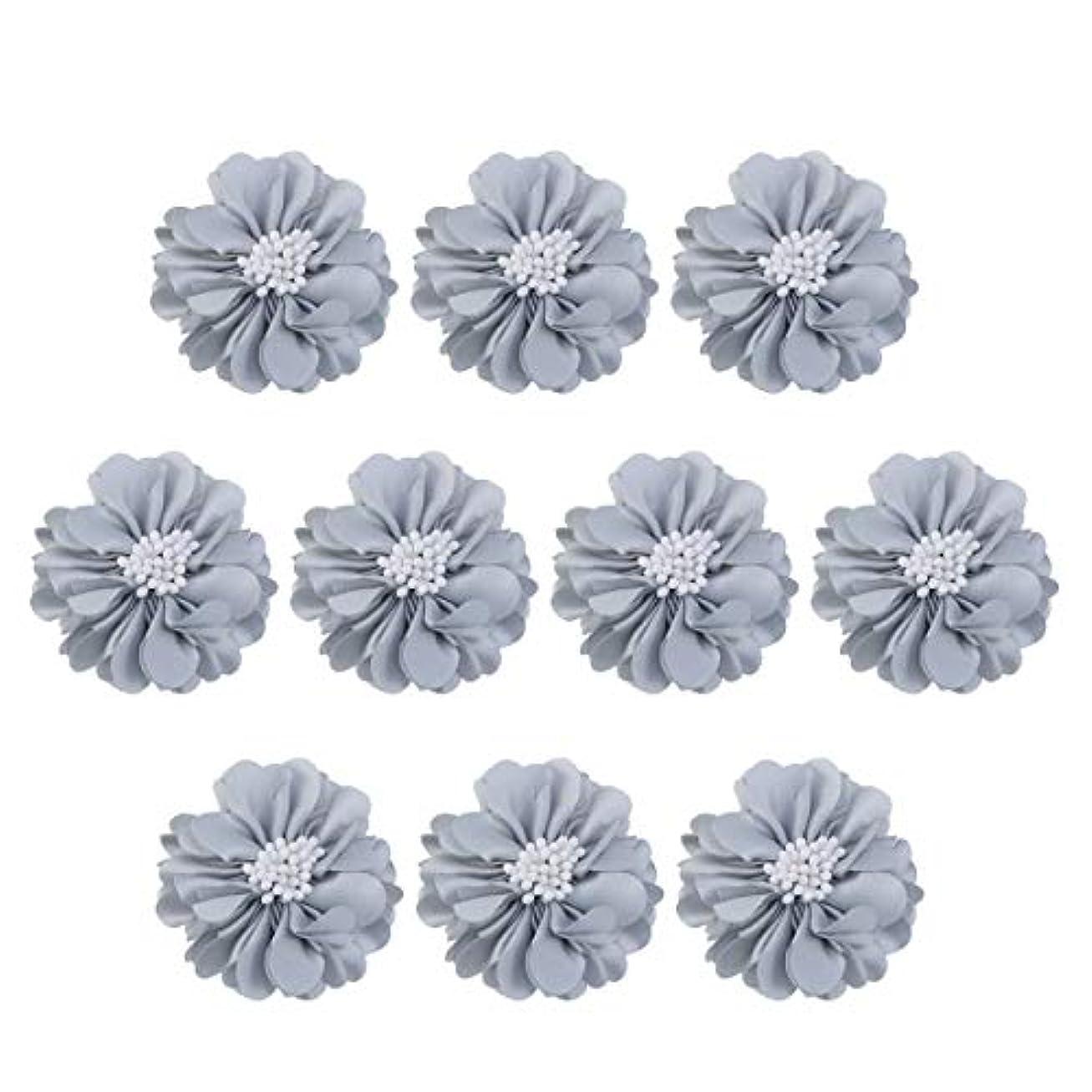 明確に実現可能性変換Vosarea 10個装飾シフォン花平底美しいDIY手作りぼろぼろの花のヘアクリップヘアアクセサリー(ブルー)