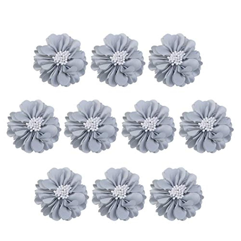 死傷者偽造出身地Vosarea 10個装飾シフォン花平底美しいDIY手作りぼろぼろの花のヘアクリップヘアアクセサリー(ブルー)