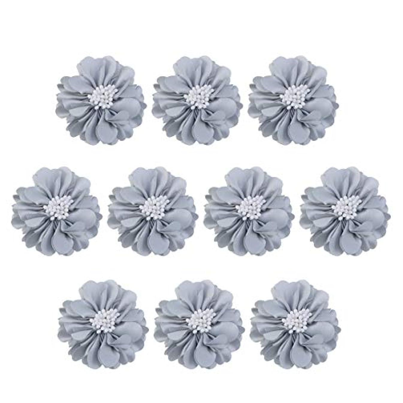 より虚弱欠点Vosarea 10個装飾シフォン花平底美しいDIY手作りぼろぼろの花のヘアクリップヘアアクセサリー(ブルー)