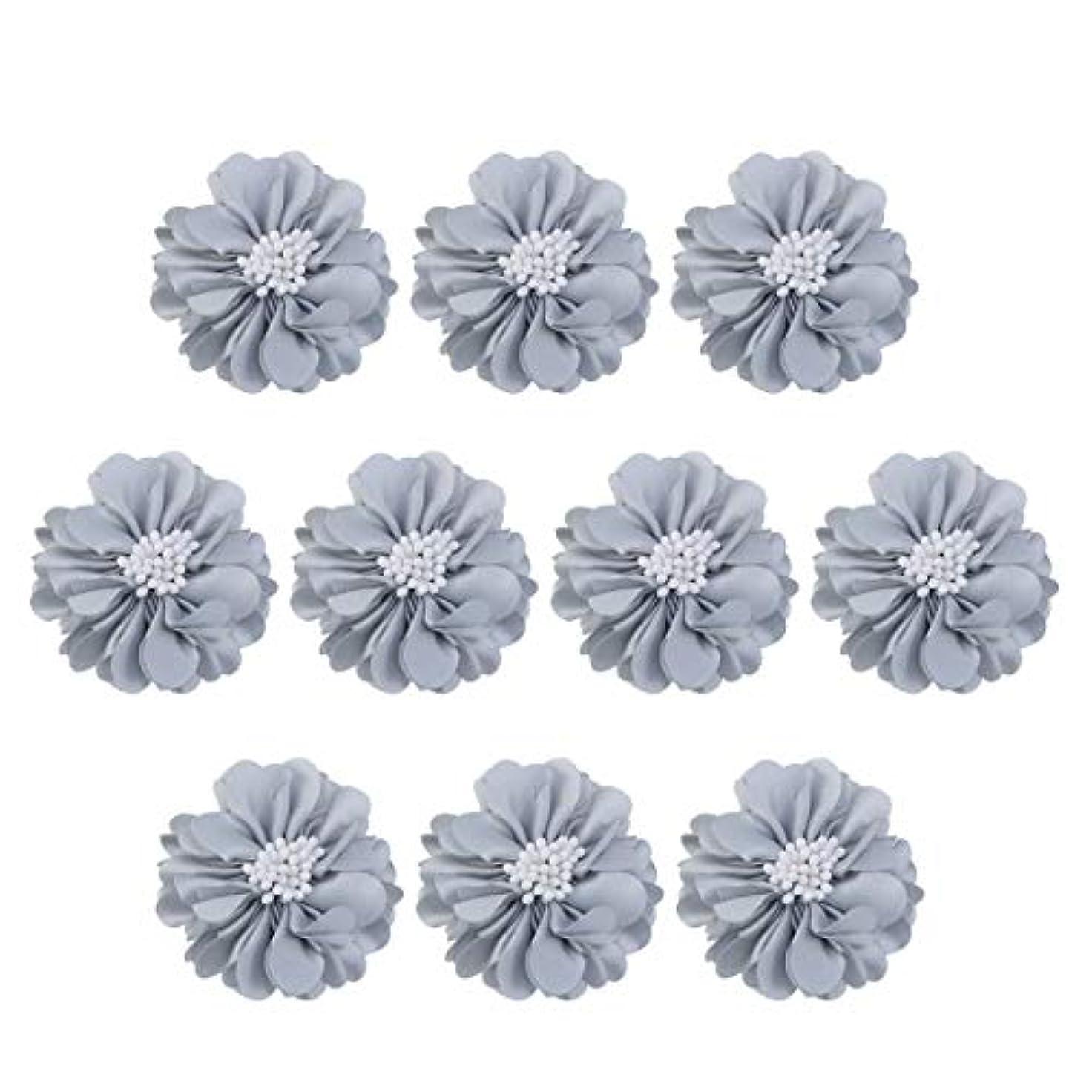 グリーンランド中絶ハンディVosarea 10個装飾シフォン花平底美しいDIY手作りぼろぼろの花のヘアクリップヘアアクセサリー(ブルー)
