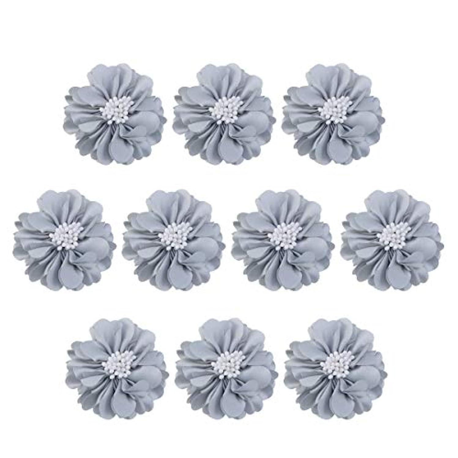 神土曜日バンガローVosarea 10個装飾シフォン花平底美しいDIY手作りぼろぼろの花のヘアクリップヘアアクセサリー(ブルー)