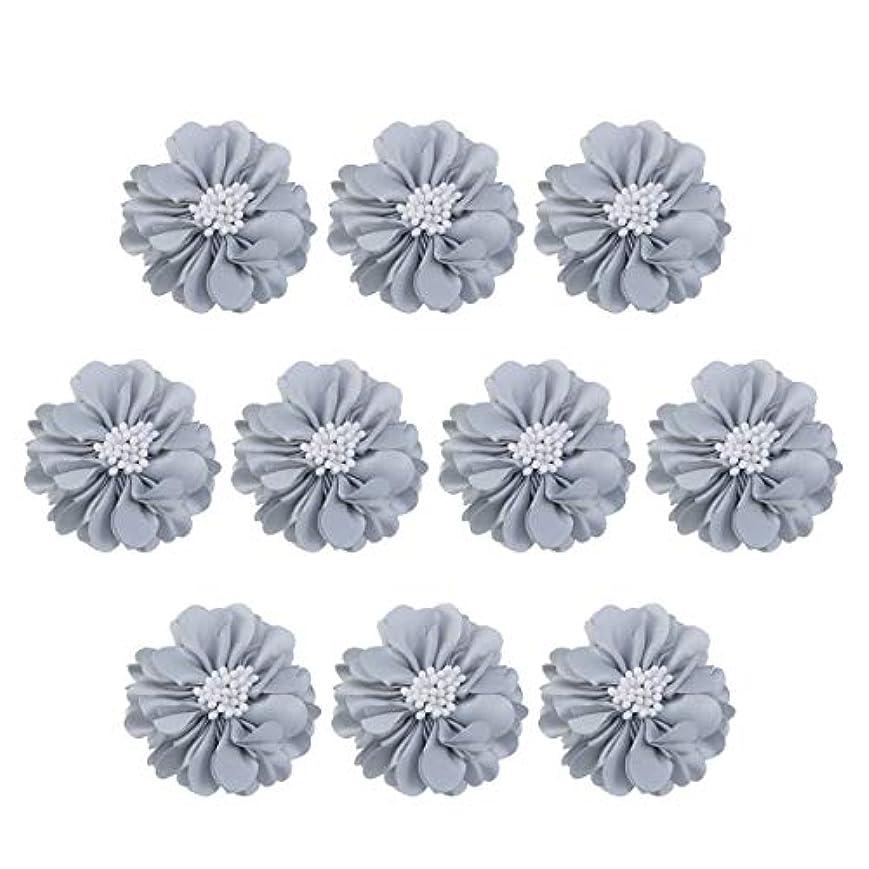 ペインティング最もキュービックVosarea 10個装飾シフォン花平底美しいDIY手作りぼろぼろの花のヘアクリップヘアアクセサリー(ブルー)